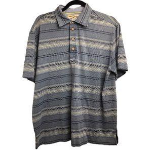 TommyBahama Blue SilkBlend Stripe Vacay Polo Shirt